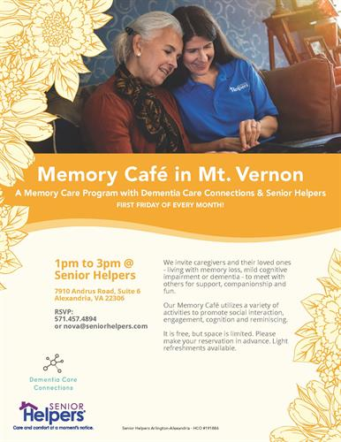 Memory Cafe - 1st Friday of every month!