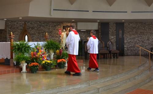 Parishioners are involved as altar servers, lectors, ushers, eucharistic ministers, choir members, and more