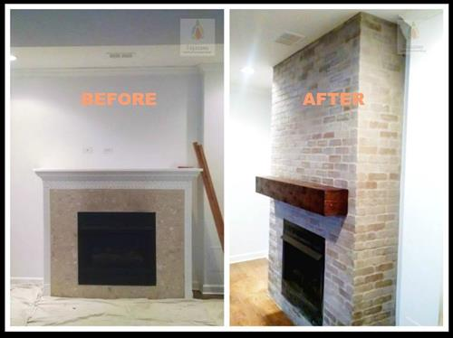 Client wanted the Fire place to look like one, so we built box, then added cement board, then applied brick tiles to cement board.  Added new mantel piece with reclaimed wood now stained.