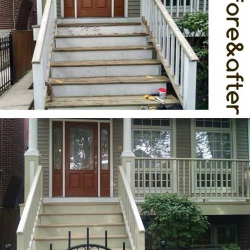 In need of a new painted job, we repainted this porch with creams instead of whites both railing and floor.