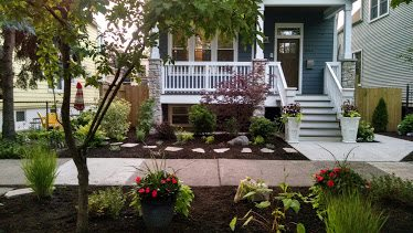 Removed old shrubs and installed Front, parkway and back yard for residental home.