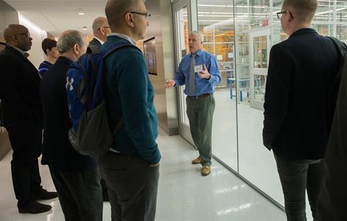 Peter Duda, Director of the Pritzker Nanofabrication facility gives a walking tour of the cleanroom