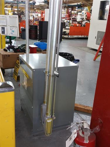Crane Valve transformer installation for CNC machine