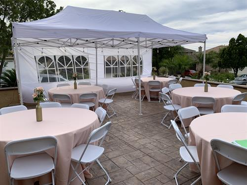 RENTAL CANOPY AND ROUND TABLES AND LINENS