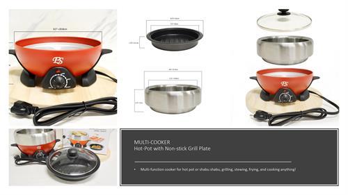 Multi-function Cooking Shabu Shabu Hot Pot and Gill Pot
