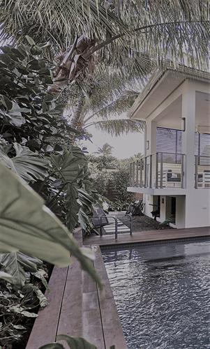 Pool terrace of house in Miami Shores
