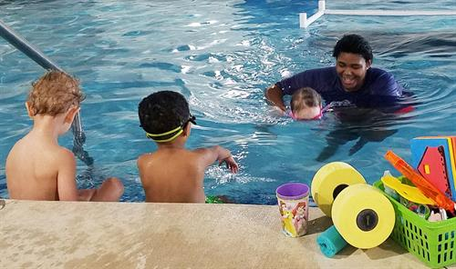 Swimming with Instructor Taji