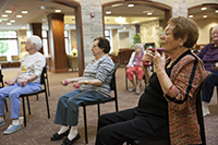 Daily aerobics and strength building exercise classes are available for residents.