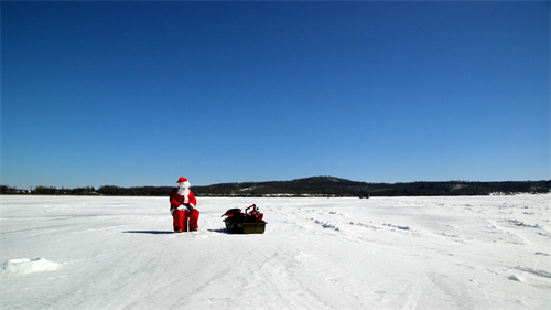 Ice fishing with Santa (Client, Cedar Lake Sales)