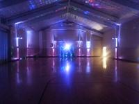 Gym all decked out in lights ready for a party