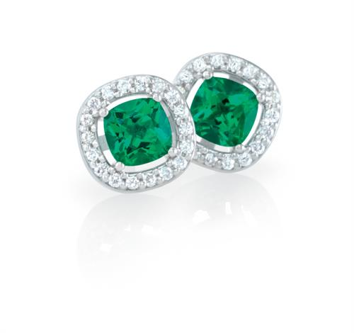 Emerald cushion halo earrings
