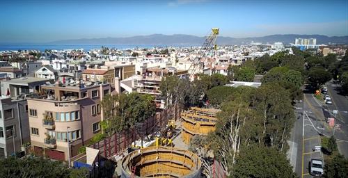 Construction drone shot  for LA Sanitation