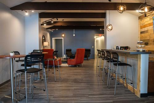 Coworking, bar and lounge area.