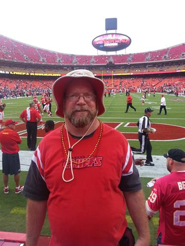 Joe Dutton at one of the many Kansas City Chiefs games at Arrowhead