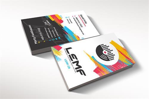Hybrid Media Lethbridge Branding Web Design and Marketing Agency Client Study LEMF Business Card Design