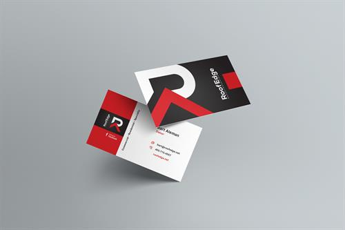 Hybrid Media Lethbridge Branding Web Design and Marketing Agency Client Study RoofEdge Business Card Design