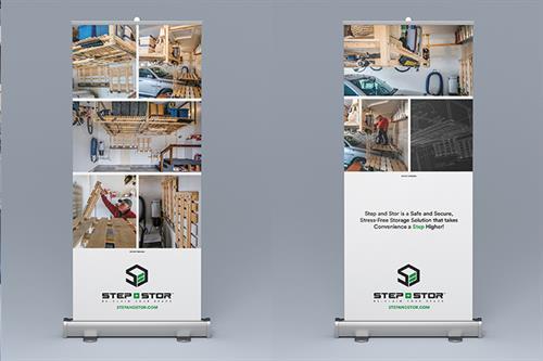 Hybrid Media Lethbridge Branding Web Design and Marketing Agency Client Study Step n Stor Tradeshow Banner Design