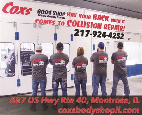Coxs Body Shop newspaper ad, also used on social media