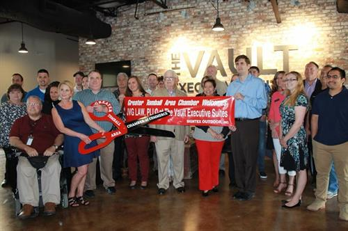 JVG LAW, PLLC-Chamber ribbon cutting ceremony at The Vault Executive Suites.