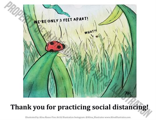 Social Distancing Lady Bugs safety poster
