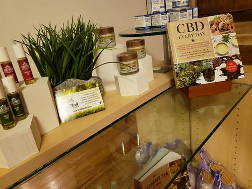 Lots of self care with CBD lotions, soaps, aromatherapy oils, massage blends and bath bombs
