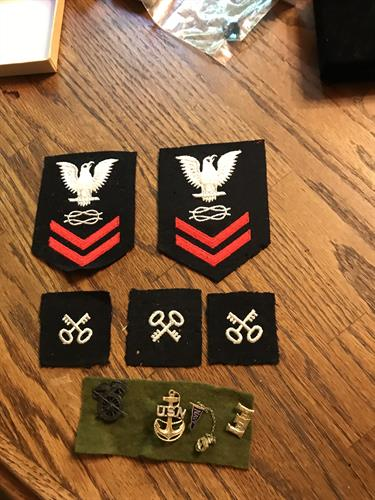 WW II us navy patches and pins
