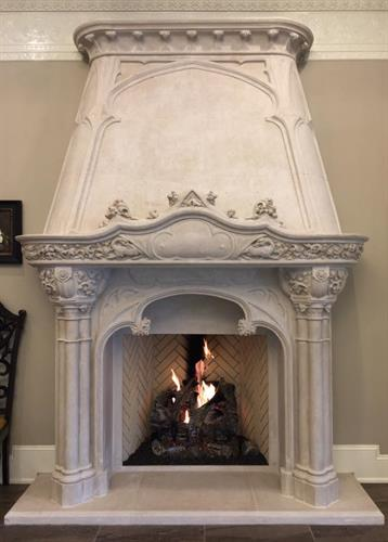 This fireplace is in the entry