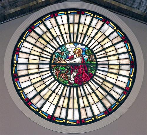This is the stained glass in the back of our chapel