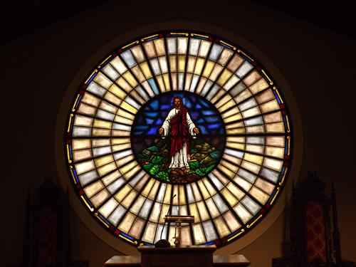 This is the stained glass in the front of the chapel