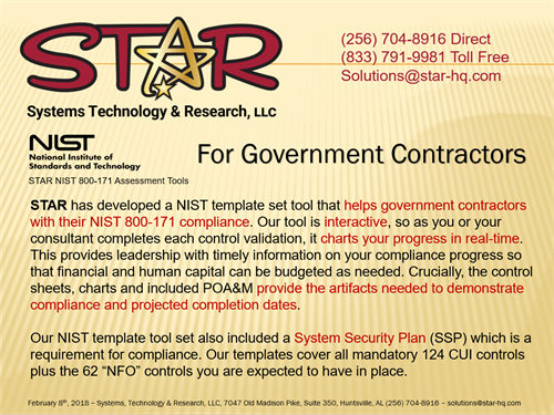 STaR NIST Template Tool for Government Contractors