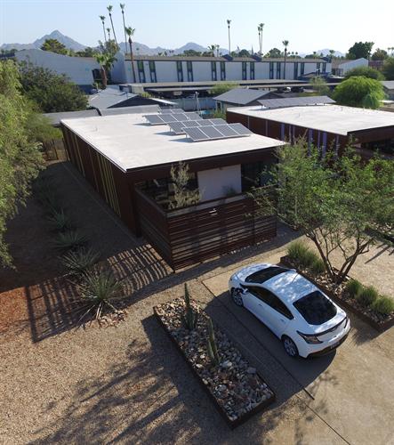 Solar rooftop with solar car