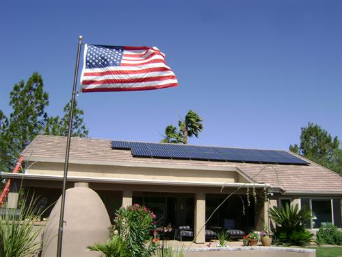 American flag and custom rooftop solar by Sun Valley Solar Solutions