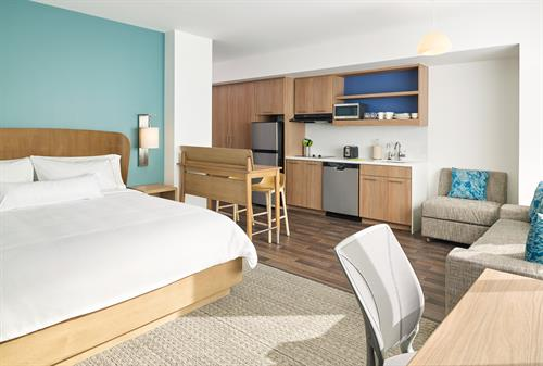 Guest Rooms that are spacious, comfortable and include a kitchenette