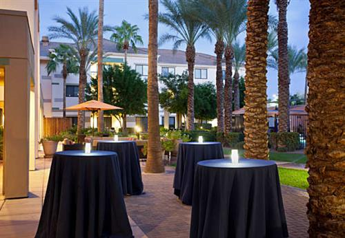 Our courtyard offers space for outdoor dining or a reception.