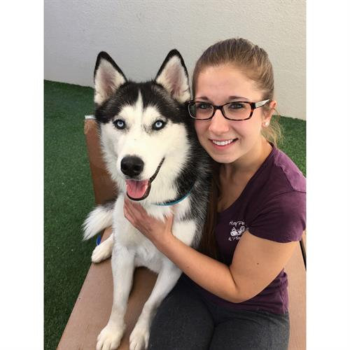 Amber with her Instagram famous Husky Brandy. Amber is the Supervisor at our Chandler facility.