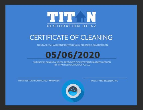 Certificate of Cleaning against COVID-19