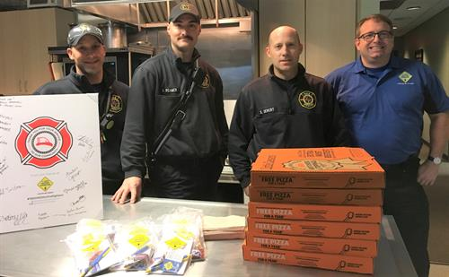 Dropping pizza at Rochester Station 1 on Firefighter Appreciation Day