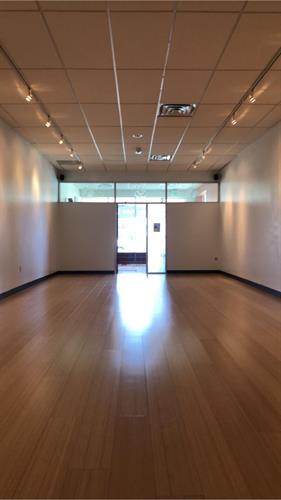 The serene yoga studio space.