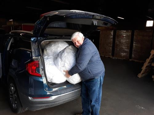 Sheets and towels being delivered to the Appalachian Mountains