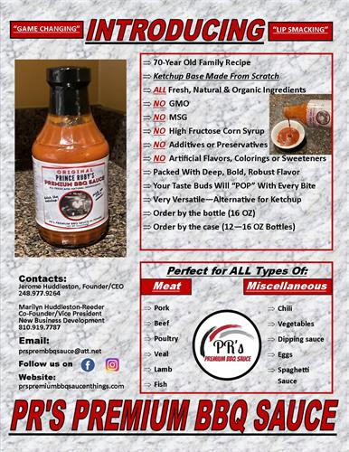 Sells Sheet for Prince Ruby's Premium BBQ Sauce