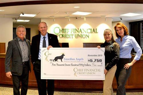 Check Presentation to Guardian Angels Medical Service Dogs