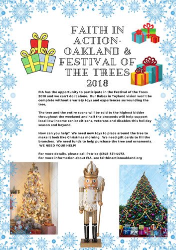 Faith in Action 2018 Festival of the Trees flier