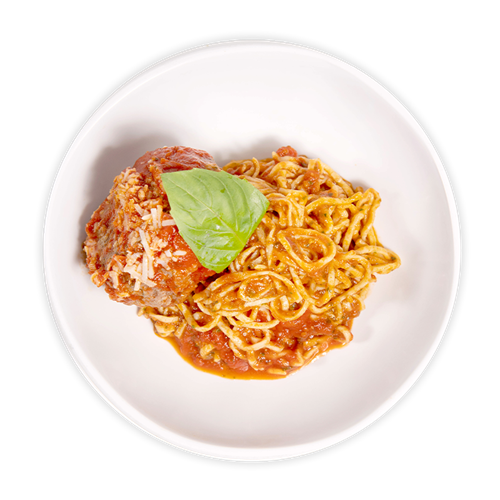 Kids Meal- Homemade Spaghetti with a Meatball