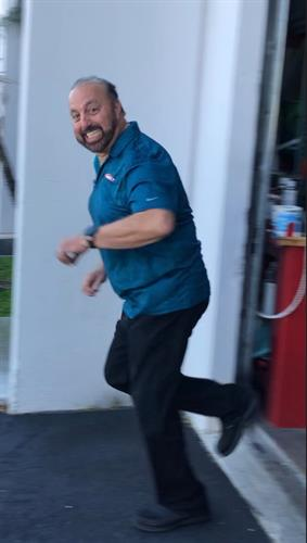 """Alan, practicing his """"Faster to any size Disaster """" run :)"""