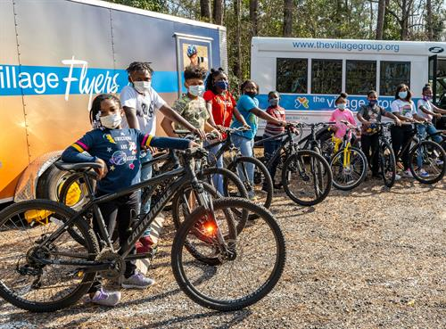 Village Flyers Bicycle Group ready for group ride with Georgetown County Sheriff
