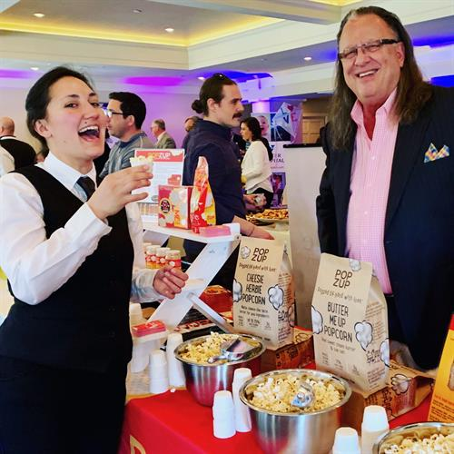 Marty Lapham, Popzup Popcorn Owner, sampling at the Taste of the Seacoast.