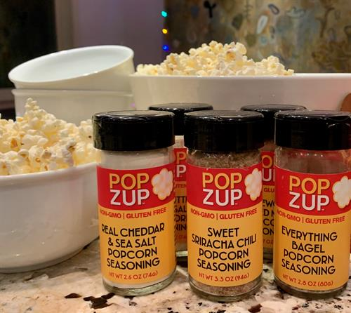 Popzup Popcorn Seasonings- blended from pure & simple ingredients like herbs, spice, nutritional yeast, sea salt. They come in convenient glass shaker jars.
