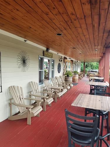 Our porch is open during the warm weather months for dining