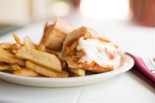 Chicken Parmigiana Sub with fries