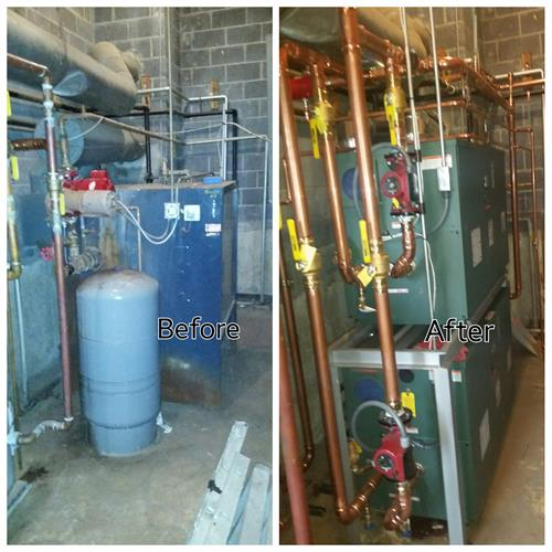 Before and after boiler install
